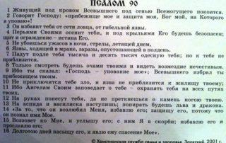 МОЛИТВА ЖИВЫЕ ПОМОЩИ (ПСАЛОМ 90) — ЧИТАТЬ ТЕКСТ НА РУССКОМ