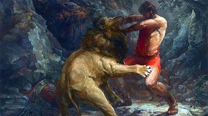 Сражение со львом