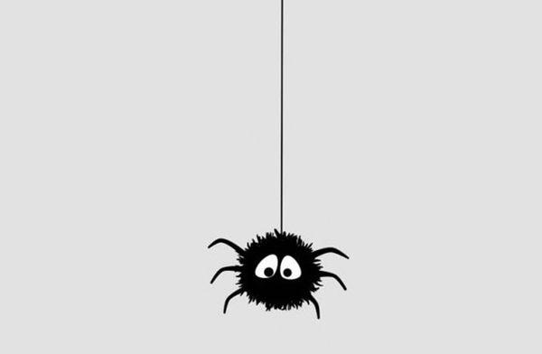 паук спустился вниз по паутине